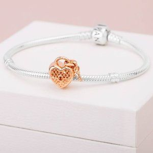 Pandora Rose Gold Love You Heart Padlock Charm